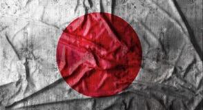 Grunge verfrommelde Japanse vlag het 3d teruggeven Stock Foto