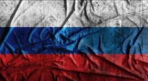 Grunge verfrommelde Russische vlag het 3d teruggeven Stock Afbeelding