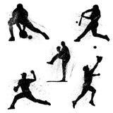 Grunge Verontruste Honkbalpictogrammen Royalty-vrije Stock Afbeelding