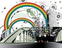 Grunge verontruste regenboogstad Stock Fotografie