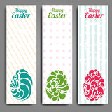 Grunge vertical banners set with ornamental easter eggs Royalty Free Stock Images