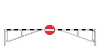 Grunge verwitterte Straßen-Sperren-Gatter kein Eintrag-Zeichen stockbilder