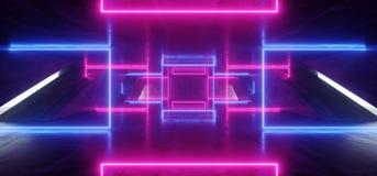 Grunge vibrant bleu de Hall Tunnel Corridor Cement Concrete de garage souterrain d'exposition d'?tape de lasers de pourpre de fon illustration libre de droits