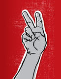 Grunge victory sign royalty free stock photo