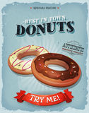 Grunge And Vintage American Donuts Poster Royalty Free Stock Image