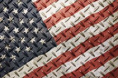 Grunge vintage American US flag over old metal Stock Photography