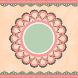 Vintage lace frame. Grunge, vintage background with a circular frame and lace vector illustration