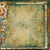 Grunge vintage background with flowers Stock Photos