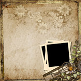 Grunge vintage background with polaroid-frame Royalty Free Stock Photo