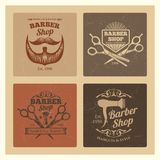 Grunge vintage barber shop labels vector design. Set of retro emblems illustration vector illustration