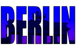 Grunge vintage Berlin blue 3d text Brandenburg gate Royalty Free Stock Image