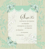 Grunge vintage blue floral invitation card Royalty Free Stock Photos