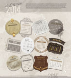 Grunge vintage calendar of 2014 Stock Photos