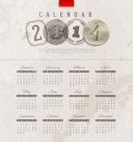 Grunge vintage calendar of 2014. Template design - Grunge vintage calendar of 2014 with decorative lettering elements Stock Illustration