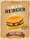 Grunge And Vintage Cheeseburger Poster Royalty Free Stock Photo