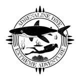 Grunge vintage diving label design with shark and diver man. Vector illustration.  Stock Photos
