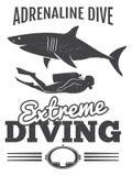 Grunge vintage diving poster design with shark and diver man. Vector illustration Stock Photo