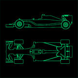 Grunge And Vintage Drinks. Formula car, linear light silhouette of a racing car isolated on black background. Top view and side view. Vector illustration Stock Images