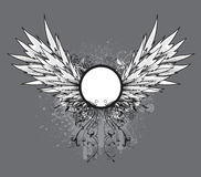Grunge vintage emblem with wings Royalty Free Stock Photography