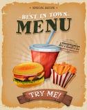 Grunge And Vintage Fast Food Menu Poster Stock Image