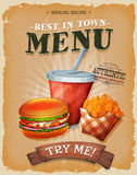 Grunge And Vintage Fast Food Menu Poster Stock Images