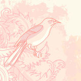 Grunge vintage floral background with bird Royalty Free Stock Image