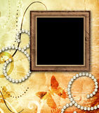 Grunge vintage frame on old paper background Stock Photo