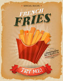 Grunge And Vintage French Fries Poster Stock Image