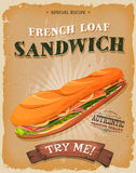 Grunge And Vintage French Loaf Sandwich Poster. Illustration of a design vintage and grunge textured poster, with appetizing sandwich made of ham, butter, salad Stock Image
