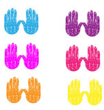 Grunge vintage hands. Colored grunge vintage hands painted vector Stock Photo