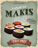 Grunge And Vintage Japanese Makis Poster Royalty Free Stock Photos