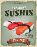 Grunge And Vintage Japanese Sushis Poster Royalty Free Stock Photography