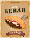 Grunge And Vintage Kebab Sandwich Poster. Illustration of a design vintage and grunge textured poster, with appetizing cartoon fast food kebab sandwich icon Stock Photos