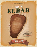 Grunge And Vintage Kebab Sandwich Poster. Illustration of a design vintage and grunge textured poster, with appetizing cartoon fast food kebab meat icon, for Royalty Free Stock Image