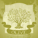 Grunge vintage label with olive tree Royalty Free Stock Photos
