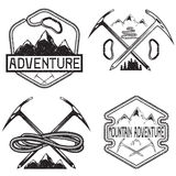 Grunge vintage labels mountain adventure Stock Photos