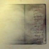 Grunge, vintage, livro velho, fundo de papel ilustração da sucata de papel envelhecida, vestida e manchada Fotos de Stock