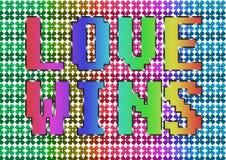 Grunge vintage Love wins Rainbow text illustration royalty free stock photos