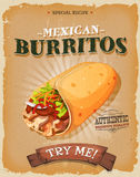 Grunge And Vintage Mexican Burritos Poster Royalty Free Stock Photography