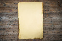 Grunge vintage old paper with wooden planks Stock Photography