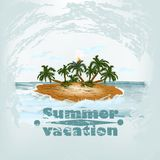 Grunge vintage poster design on summer theme with island and pal Royalty Free Stock Photo