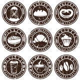 Grunge vintage retro bakery and coffee labels Stock Image