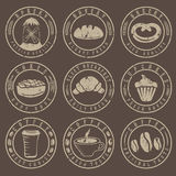 grunge vintage retro bakery and coffee labels Royalty Free Stock Image