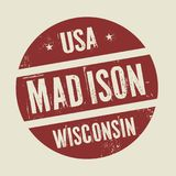 Grunge vintage round stamp with text Madison, Wisconsin. Vector illustration Stock Image