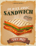 Grunge And Vintage Sandwich Poster. Illustration of a design vintage and grunge textured poster, with appetizing ham, bread and salad classic sandwich, for fast Stock Images