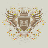 Grunge vintage shield with lions. Vector illustration stock illustration