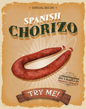 Grunge And Vintage Spanish Chorizo Poster Royalty Free Stock Photography
