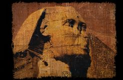 Grunge vintage Sphinx on papyrus paper Stock Images