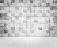 Grunge vintage style concrete tile wall and wooden floor texture Stock Images