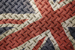 Grunge vintage UK Great Britain flag over old metal Stock Image